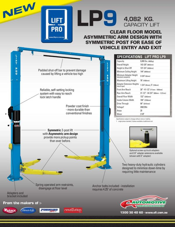 Lift Pro LP9 2-Post Hoist Pic 2